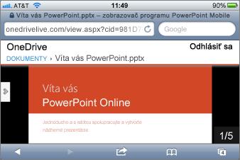 Prezentácia v zobrazovači Mobile Viewer pre PowerPoint