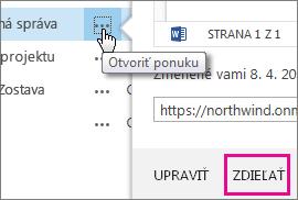 Ak chcete odoslať prepojenie, kliknite na položku Otvoriť ponuku a potom na položku Zdieľať