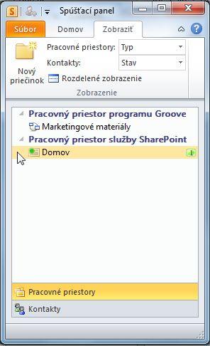 Pracovný priestor SharePoint na spúšťacom paneli