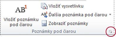 Spúšťač dialógového okna Poznámka pod čiarou a vysvetlivka v programe Word 2010