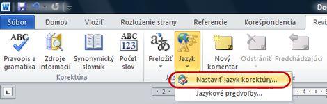 Tlačidlo Jazyk na páse s nástrojmi v programe Word