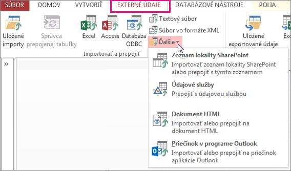 Možnosti na karte Externé údaje