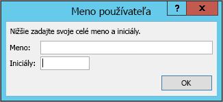 Dialógové okno Meno používateľa