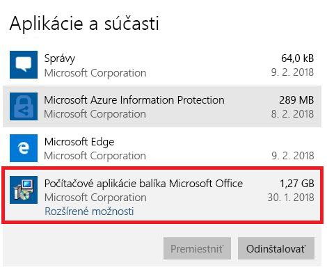 Počítačové aplikácie balíka Microsoft Office