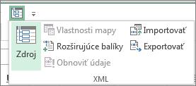 Kliknutie na položku XML na paneli s nástrojmi Rýchly prístup