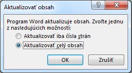Dialógové okno Aktualizovať obsah