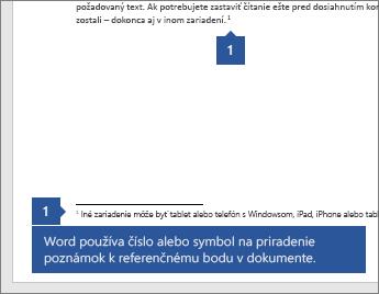 Word používa číslo alebo symbol na priradenie poznámky k referenčnému bodu v dokumente