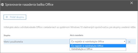 Na table Spravovanie nasadenia balíka Office vyberte položku Čo najskôr si nainštalujte Office alebo Odinštalovanie balíka Office.
