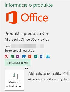 Snímka obrazovky zobrazujúca výber možnosti Spravovať konto na stránke Konto v počítačovej aplikácii balíka Office