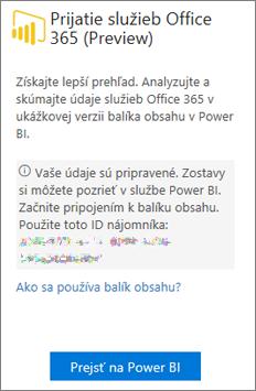 Na karte Office 365 Adoption vyberte položku Prejsť na Power BI