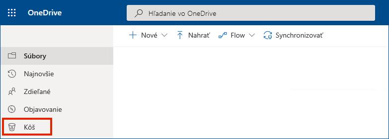 OneDrive for Business online so zobrazením koša vľavej ponuke