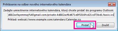 prihlásenie na odber internetových kalendárov