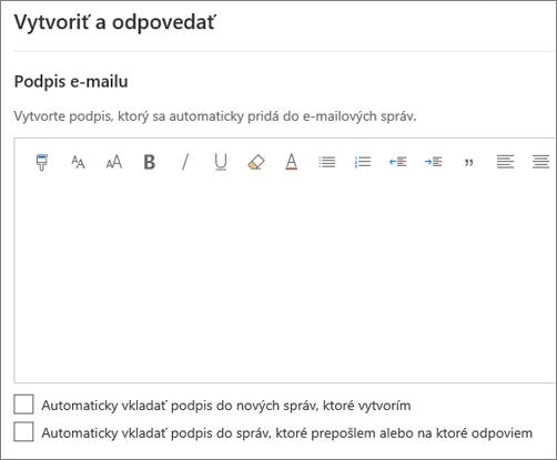 Vytvorenie podpisu e-mailu v Outlooku na webe