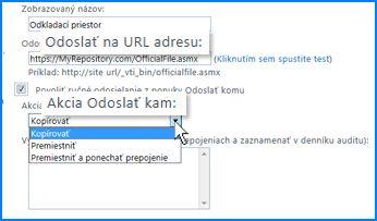 Snímka obrazovky sčasťou Nastavenia pripojenia na stránke Pripojenie Odoslať vCentre spravovania služby SharePoint Online. Tu môžete určiť URL adresu cieľového umiestnenia organizátora obsahu.