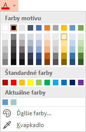Výberom šípky nadol vedľa tlačidla Farba písma otvorte ponuku farieb