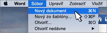 Možnosť nový dokument