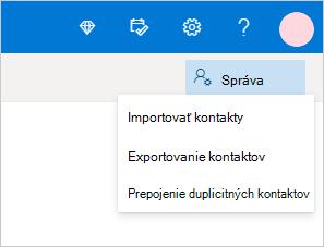 V ponuke Spravovanie vyberte možnosť na importovanie kontaktov