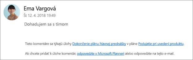 Screen capture: Zobrazuje sa skupinových e-mailov, kde kolegu, ktorý je odpovedanie na prvý komentár.