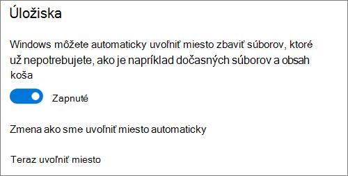 Prepínač úložiska vo Windowse 10 na aktiváciu Senzora úložiska