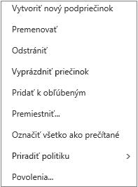Kontextová ponuka, ktorá sa zobrazí po kliknutí pravým tlačidlom myši na osobný priečinok