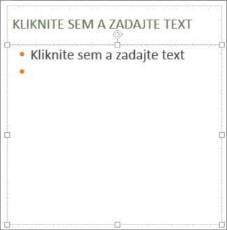 Pridanie textu do zástupného objektu