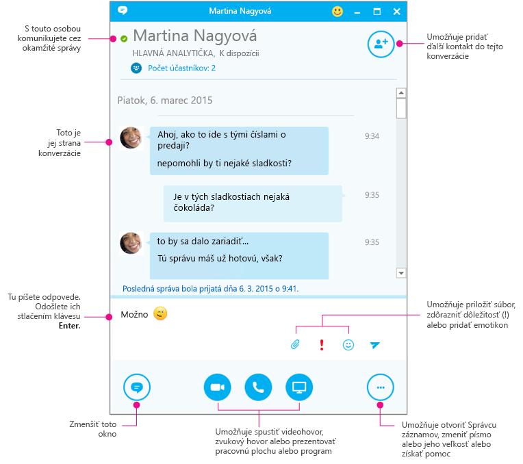 Tabla okamžitých správ Skypu for Business, ktorá je súčasťou diagramu
