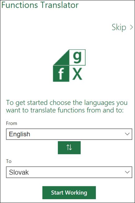 Prekladač funkcií, tabla Jazykové nastavenia