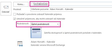 Pozvánka na interné zdieľanie e-mailov z poštovej schránky – pole Komu a nastavenie Podrobnosti