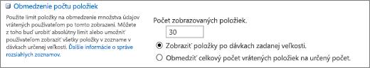 Nastavenie počtu zobrazených položiek na stránke Nastavenie zobrazenia