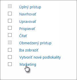 Vyberte úroveň povolení s názvom Marketing.