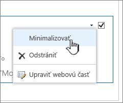 Kliknite na šípku nadol pri nastaveniach, kliknite na tlačidlo Minimalizovať