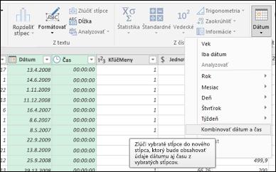 Power Query – zlúčenie dátumov ačasov do stĺpca dátumu a času v editore dotazov