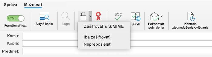 Možnosť šifrovania s možnosťou S/MIME