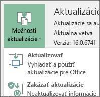 Z rozbaľovacieho zoznamu Možnosti aktualizácie vyberte položku Aktualizovať.