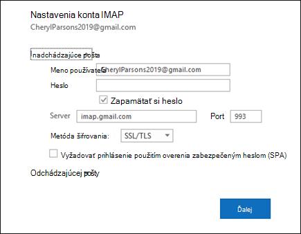 Ak chcete zmeniť meno používateľa, heslo a nastavenia servera, vyberte položku Nastavenie servera.