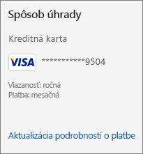 Sekcia Spôsob platby na stránke Predplatné zobrazujúca prepojenie Aktualizovať podrobnosti o platbe.