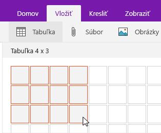 Príkaz Vložiť tabuľku so zobrazenou mriežkou výberu