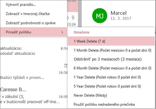 Snímka obrazovky s príkladmi politiky uchovávania údajov v skupinách v Outlooku na webe