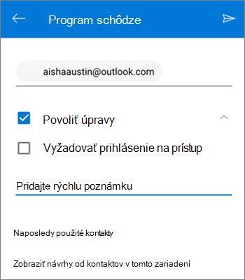 Snímka obrazovky spozvaním ľudí na zdieľanie súboru zOneDrivu pre Android
