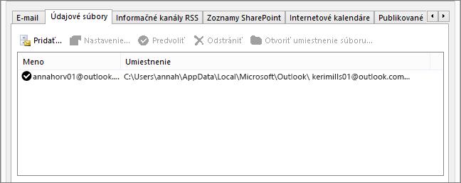 Karta Údajové súbory vNastaveniach konta Outlook, ktorá zobrazuje umiestnenie údajových súborov Outlooku príslušného používateľa