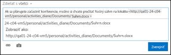 URL adresa dokumentu prilepená do príspevku informačného kanála s aktualizáciami
