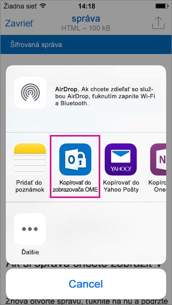 Zobrazovač OME pre Outlook pre iOS 3