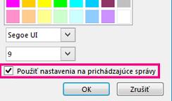 Snímka obrazovky sčasťou okna na zmenu písma so začiarknutým políčkom Použiť nastavenia na prichádzajúce správy