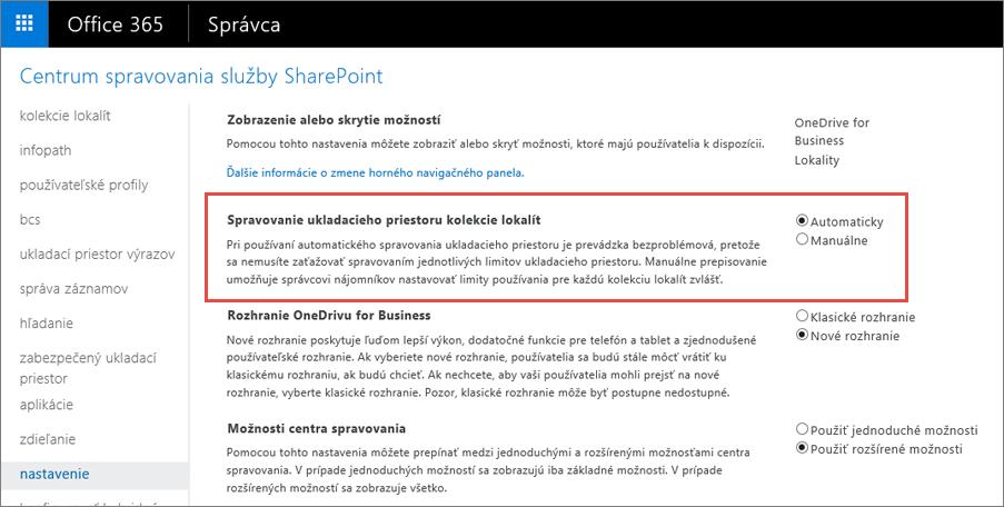Obrazovka nastavenia SharePointu Online v službách Office 365 so zvýraznenou položkou Správa kolekcie lokalít