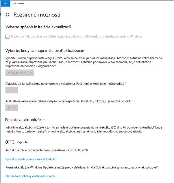 Všetky možnosti rozšírených aktualizácií Windowsu sú neaktívne.