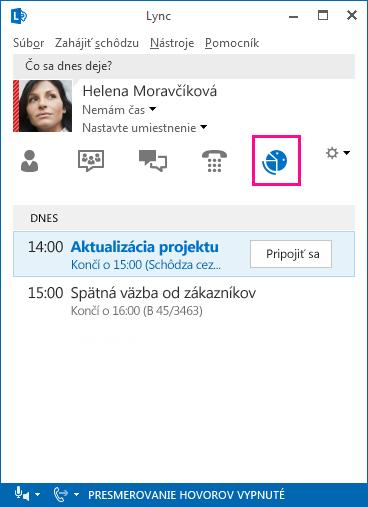 Snímka obrazovky sprostredím schôdzí cez Lync
