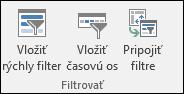 Možnosť Vložiť rýchly filter, na ktorú prejdete pomocou položiek Nástroje pre kontingenčné tabuľky > Analyzovať > Filtrovať