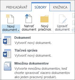 Tlačidlo nový dokument s rozbaľovacieho zoznamu na páse s nástrojmi