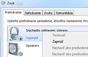Snímka obrazovky so zapnutým zariadením