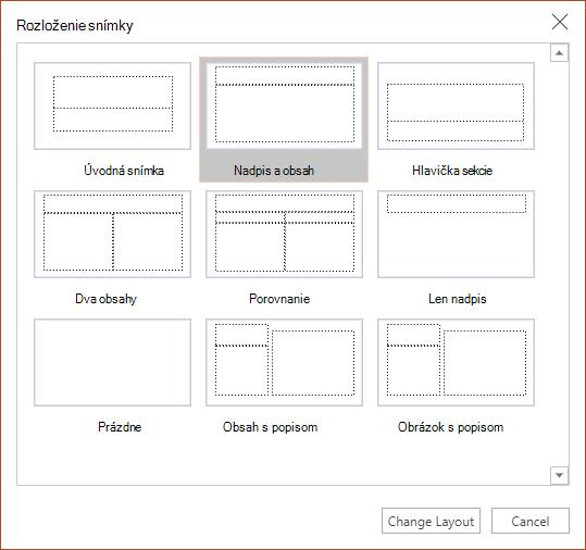 Dialógové okno Rozloženie snímky v PowerPoint pre web.